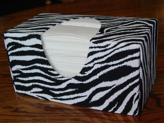 Zebra Stripe Fabric Tissue Box Cover