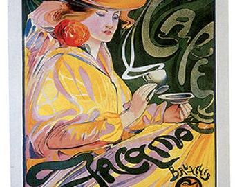 Hand-cut wooden jigsaw puzzle. CAFE JACQMOTTE. Touissaint. Art nouveau Vintage advertisement. Wood, collectible. Bella Puzzles.