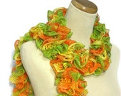 Sale Hand Knit Ruffled Scarf, Gift For Her, Fashion Accessory, Women Accessory, Knit Scarf, Hand Knit Scarf,  Green Orange Yellow