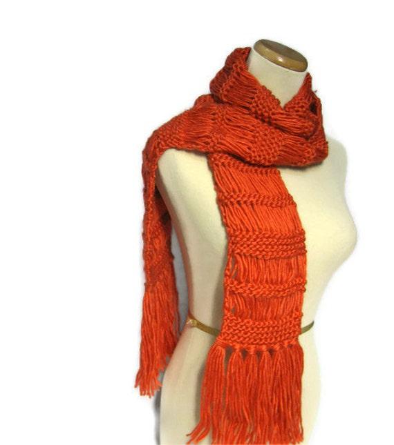 Sale Tangerine Tango Hand Knit Scarf, Orange Scarf, Winter Scarf, Knit Scarf, Fiber Art, Womens Scarf, Fashion Scarf, Gift ideas