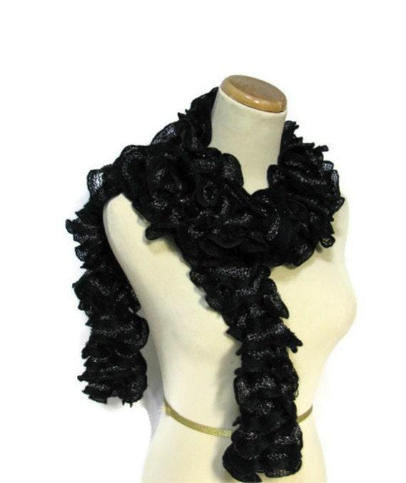Black Hand Knit Ruffled Scarf