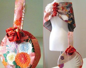 Wedding Purse vintage KIMONO flower round red grey pink hand bag