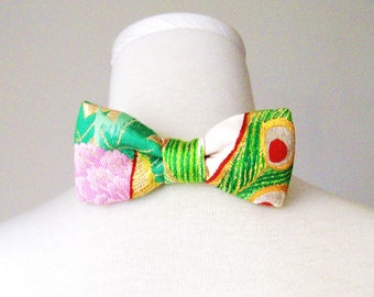 Men's bow tie made with vintage wedding KIMONO silk gold brocade green peacock feather and flower fits 15-20inch ready to ship