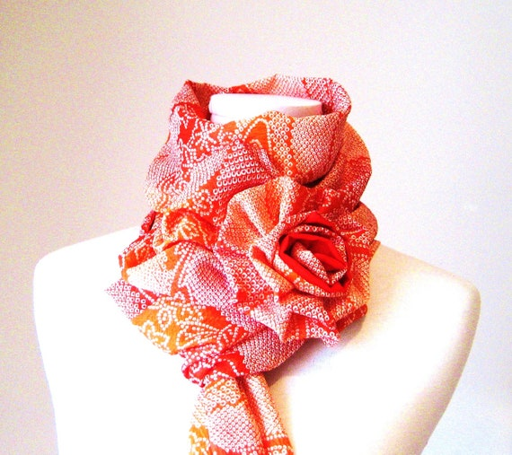 Vintage KIMONO Scarf  GEISHA  flower maple red orange cloud first snow size free Ready to ship