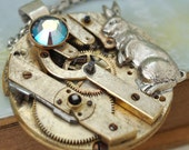 steampunk necklace Once Upon A Time In Wonderland vintage pocket watch movement necklace with white rabbit