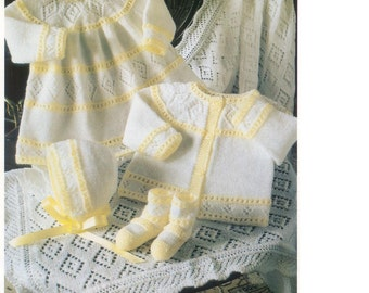 Baby Knitting Pattern - Baby Dress,Sweater/Cardigan Bonnet, Booties and Shawl PDF PREEMIE sizes
