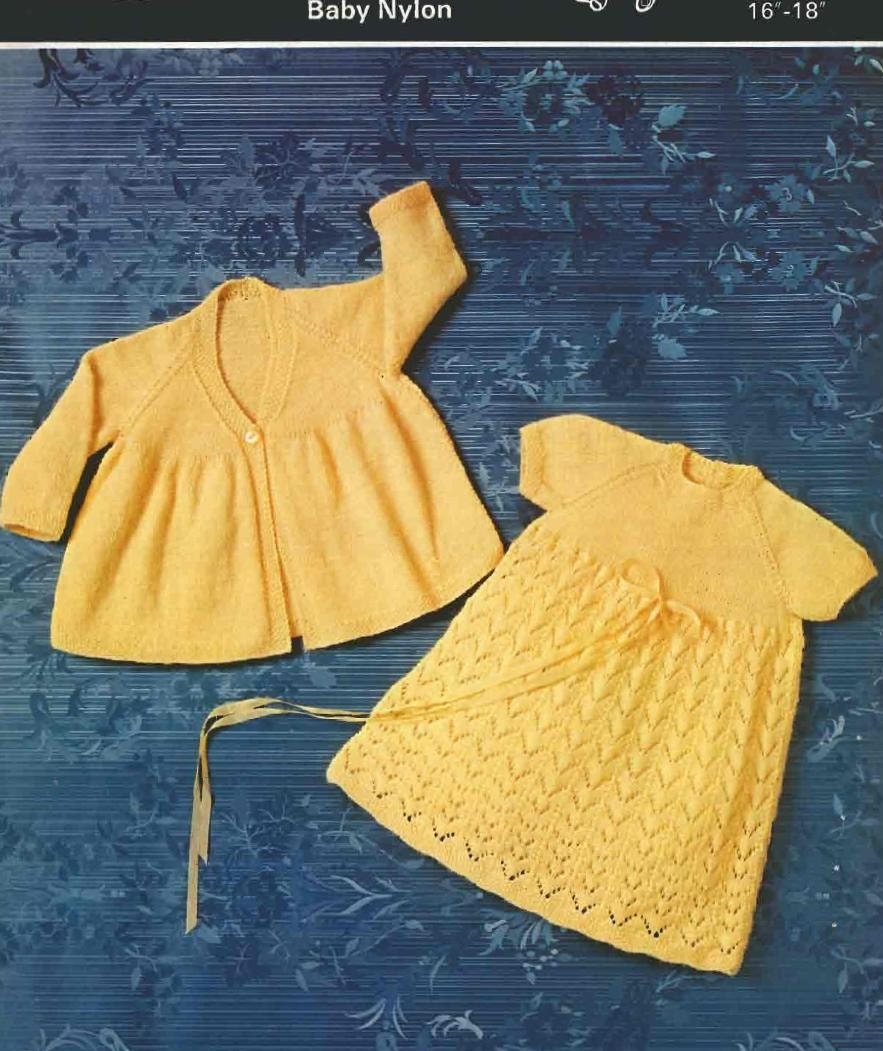 Knitting Pattern Baby Chest Sizes : VINTAGE Baby Knitting PATTERN Baby Dress and Coat 16 to 18