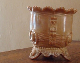 Chocolate Slag Glass open sugar or Spooner  Antique Glass