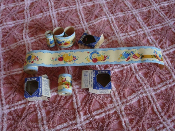 Two NOS and One Used Roll of TRIMZ Vintage Shelf Trim w Fruit and Dishes 1940s