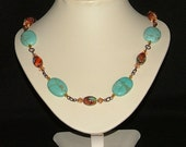Copper bronze necklace with Turquoise Swarovski crystals and Murano glass beads
