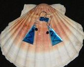 Blue And Black Swarovski Crystal And Sterling Silver Earrings
