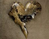 Ooak Wedding Gift Heart in a Buckeye Burl Heart carved by Gary Burns the treewiz also known as Wiz, Handmade,  woodworking
