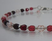 GIVING Red Bracelet - Christmas Jewelry - Red Glass Bracelet - Minimalist Jewelry - Sterling Silver - Beaded Bracelet - Eleanor Bracelet