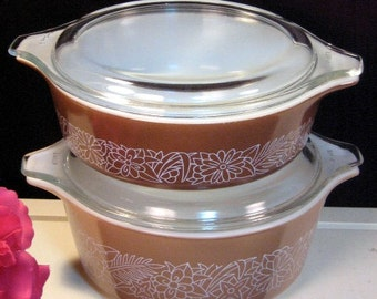 Pyrex Glass Corning Woodland Covered Casserole, Four Piece Set, Vintage Mid Century Kitchen, Glass Cookware Bakeware, Food Storage, Retro