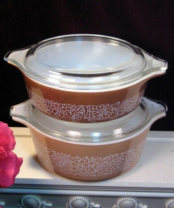Pyrex Glass Corning Woodland Covered Casserole, Four Piece Set, Vintage Mid Century Kitchen, Glass Cookware Bakeware, Food Storage, Retro