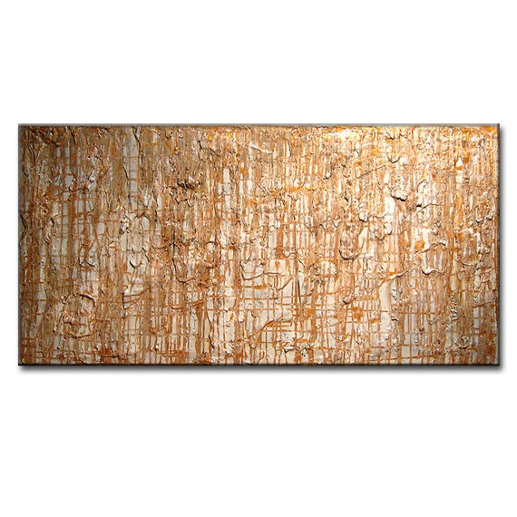 Abstract Painting - Original Modern Abstract, Thick Texture Abstract, Contemporary White Gold Fine Art By Henry Parsinia Large 48x24