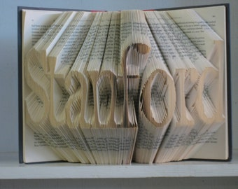 Custom Folded Book Art Sculpture - your name here - 8 letters