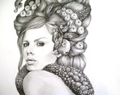 Sucker- Illustration- octopus- Black and white- 8 X10 signed print- woman- portrait- fine art - AlwaysAprilAlayne