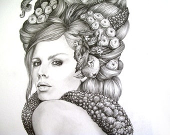 Sucker- Illustration- octopus- Black and white- print- woman- portrait- fine art