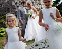 Custom Wedding Sign, Here Comes the Bride Sign and/or And they lived Happily ever after. 8 X 16 inches, Flower Girl, Ceremony, Reception.