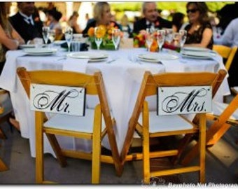 Mr. and Mrs. Chair Signs with Thank You on the back. Vintage, 2-sided, Wedding Seating Signs, Photo Props, Wedding Reception.