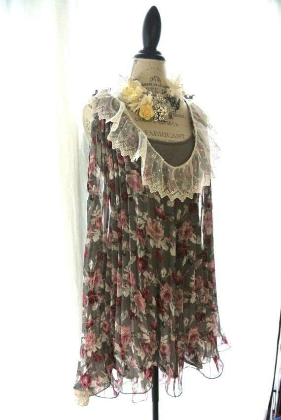 Romantic shabby sundress, floral english garden dress, garden party dress, whimsical, womens clothing, romantic