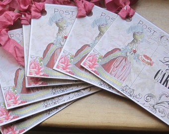 french market marie antoinette let them eat cake tags set of 9