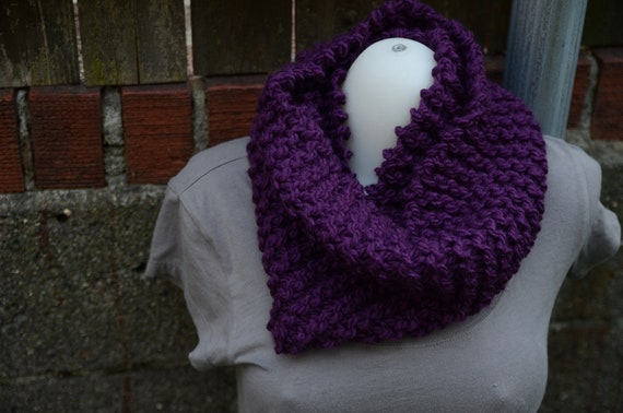 Deep Purple Light Knit Cozie aka Infinity Scarf Cowl