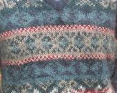 Vtg 80s Periwinkle Blue Mohair Multicolor Graphic Fairisle Stripe Print V Neck Sweater