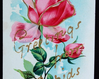 BIG RAPIDS, Michigan - Antique Greetings From... Postcard - Pink, Rose, Floral, Gilt - Frankfort, Michigan