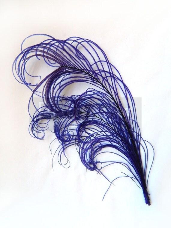 "ROYAL PURPLE peacock feather PLUME (1 Piece)(6-8"")(16 color options) for hats, fascinators, headdresses, headbands and floral arrangements"