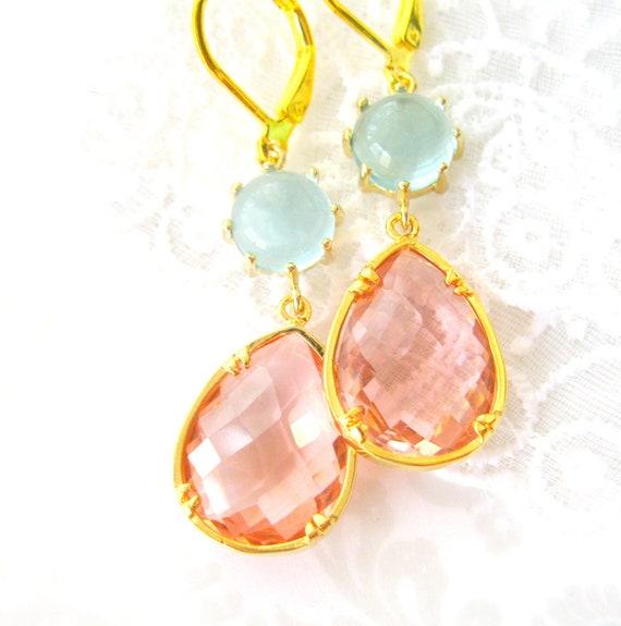 Aqua and Blush Pink Earrings dangle Earrings, Peachy Pink Handmade Jewelry, Handmade drop Earrings,