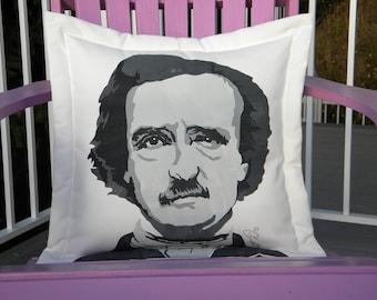 "Outdoor pillow Edgar Allan Poe portrait in black 20"" author ""Nevermore"" raven Gold Bug Crabby Chris Original"
