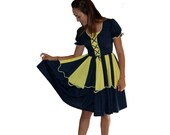 Vintage Corset Dress Dirndl - ish Style Yellow and Navy