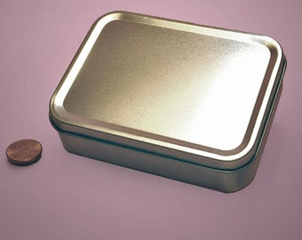 Large Hinged Rectangular Tin Can 8 oz Favor Trinkets Candy Magnets Crafts Children Adult Activities Games