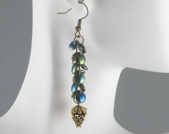 Golden Pine Cone Dangle Earrings