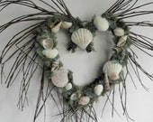 Twig Heart Wreath with Seashells for Beach Themed Home Decor