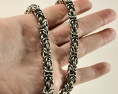 Handmade Unisex Byzantine Chainmaille Necklace in Silver Made One Ring At A Time 304