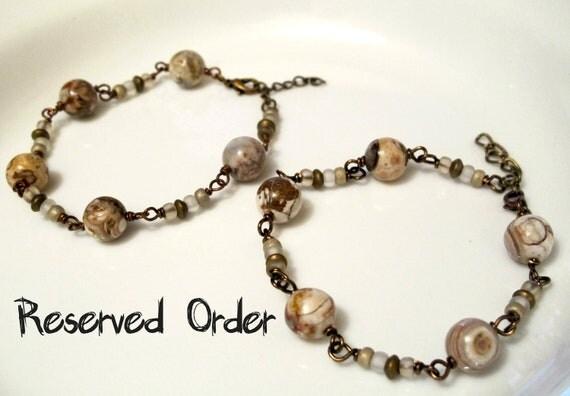 Custom Order for Thomas - Drops of Jupiter - Two Matching Marble Gemstone Bracelets, Brown, White, Cream, Copper, Bead, Spring