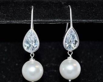 Wedding Bridal Bridesmaid Cubic Teardrop and White Swarovski Pearl Earrings - Custom Requests Welcome