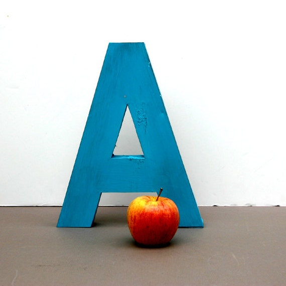 Vintage Sign Letter A / Turquoise Steel Letter A is for Apple
