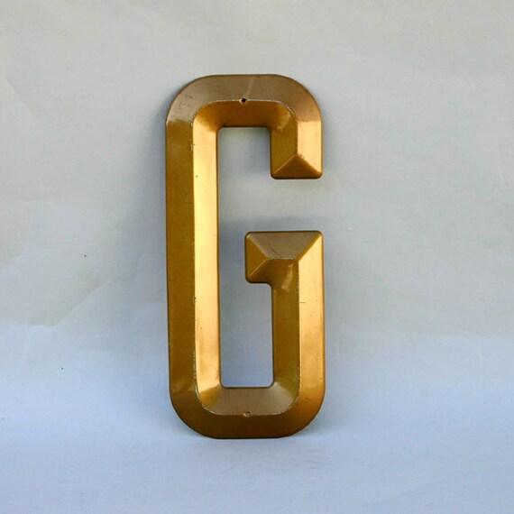 Vintage Sign Letter G  / Large Gold Steel Letter