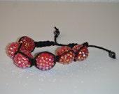 Red Bead Black Hemp Shamballa Style Bracelet