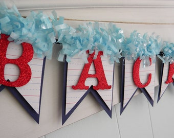 Back to School Banner - Classroom Decor - Back to School Party - Red and Blue - Glitter Banner