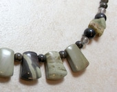 Silver Clouds - Necklace in Silver Leaf Jasper, African Queen Jasper, Smoky Quartz and Sterling Silver
