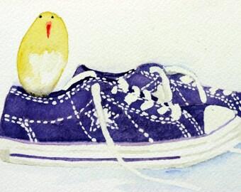 Purple sneakers with yellow bird watercolor, colorful, converse, pet bird, footwear, shoes, children's art, boy's art, children's art