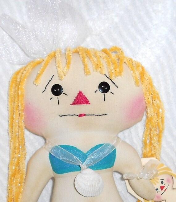 Custom Order for Cynthia Laube Mermaid Annie Handmade Primitive Raggedy Ann Annie with Seashell Necklace and tag