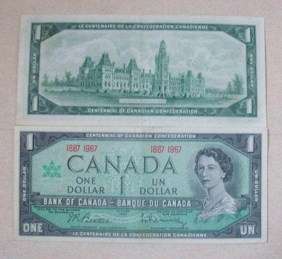 1967 Canadian Centennial One Dollar Bill No Serial