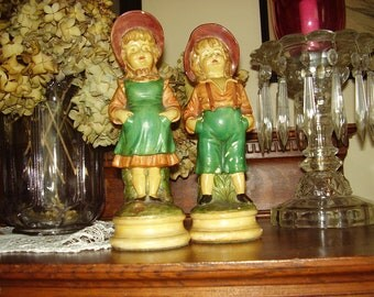 Vintage Chalkware Boy & Girl Figures World Art