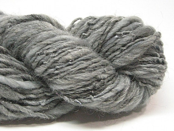 Handspun yarn, spun in merino wool, alpaca, bamboo silk and sparkly angelina-  93 yards, 3.1 ounces/ 89 grams